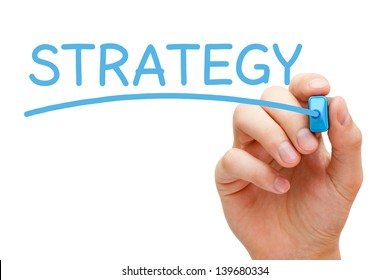 Hand writing Strategy with blue marker on transparent wipe board.