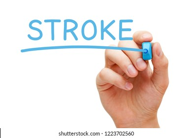Hand writing Stroke with blue marker on transparent glass board isolated on white.
