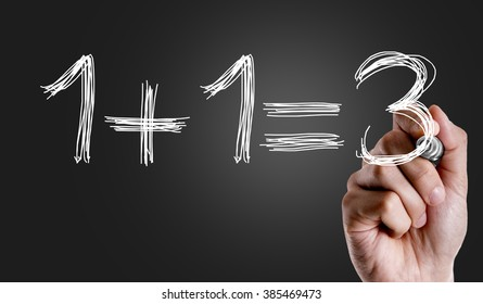 Hand writing the text: 1+1=3