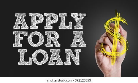 Hand writing the text: Apply For a Loan