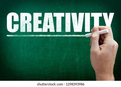 Hand writing the text CREATIVITY on the blackboard
