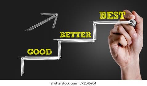 Hand writing the text: Good - Better - Best