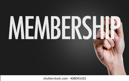 Hand writing the text: Membership