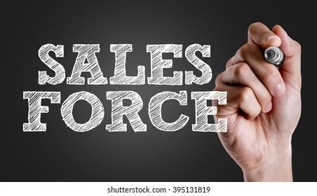 Hand writing the text: Sales Force