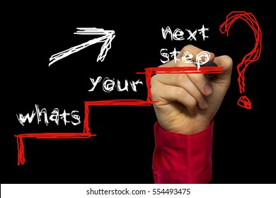 Hand writing the text: Whats Your Next Step?