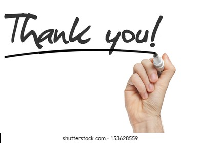 Hand writing Thank You with black marker on transparent wipe board.