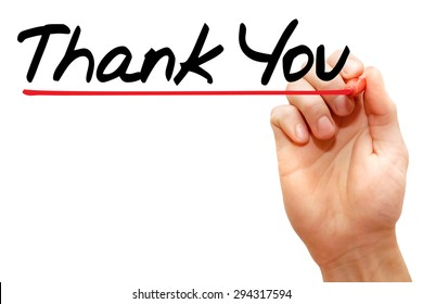 Hand writing Thank You with marker, business concept
