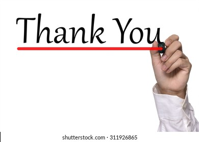 Hand writing thank you over white
