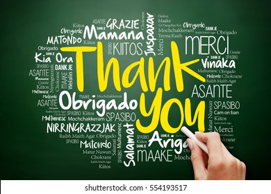 Hand writing Thank You Word Cloud in many languages on blackboard, presentation background