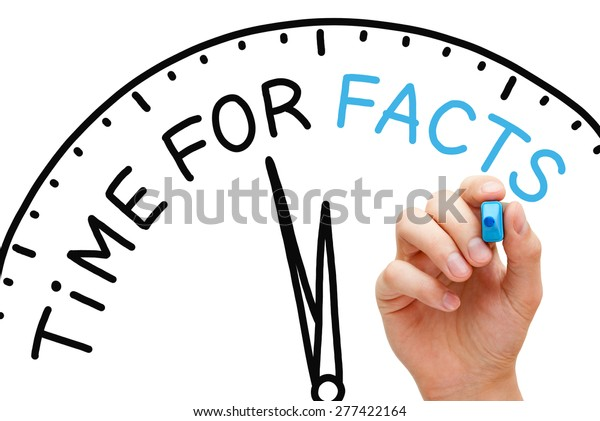 Hand writing Time for Facts concept with blue marker on transparent wipe board.