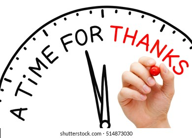Hand writing A Time For Thanks with marker on transparent wipe board. Thanksgiving concept.