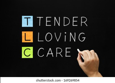 Hand writing TLC - Tender Loving Care with white chalk on blackboard.