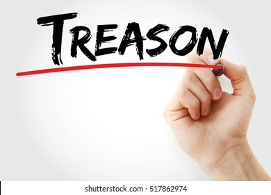 Hand writing Treason with marker, concept background