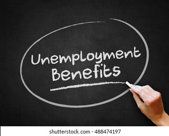 A hand writing 'Unemployment Benefits' on chalkboard.
