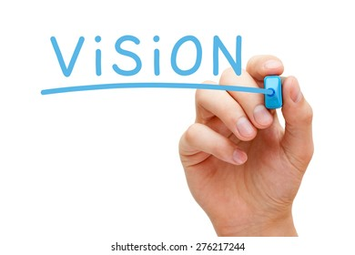 Hand writing Vision with blue marker on transparent wipe board isolated on white.