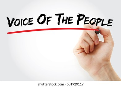 Hand writing Voice of the people with marker, concept background