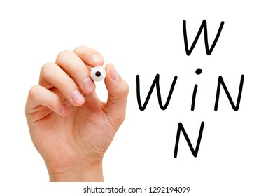 Hand writing Win Win situation crossword concept with black marker on transparent wipe board isolated on white.