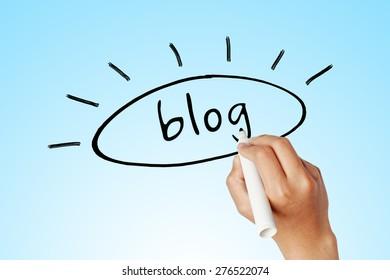 hand writing word of blog