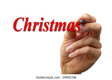 hand writing the word christmas isolated on a white background