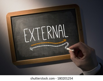Hand writing the word external on black chalkboard