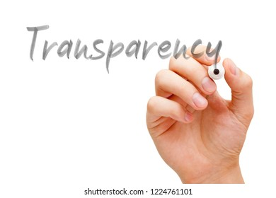 Hand writing the word Transparency with black marker on transparent wipe board isolated on white.