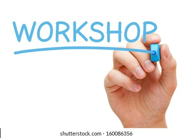 Hand writing Workshop with blue marker on transparent wipe board.
