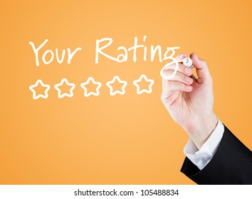 "Hand writing ""Your Rating"" to the screen."