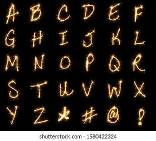 Hand Written Alphabet Sparkler Overlay