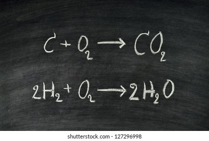 Hand written chemical equation on blackboard