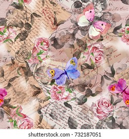 Hand written letters, stamps, rose flowers and butterflies. Vintage repeating pattern at aged paper
