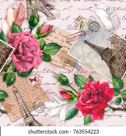 Hand written letters, vintage photo of Eiffel Tower, rose flowers, postal stamps, feathers. Seamless pattern about France and Paris