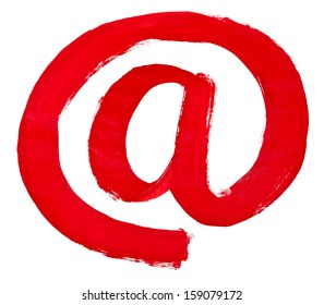 hand written at symbol painted by red brush