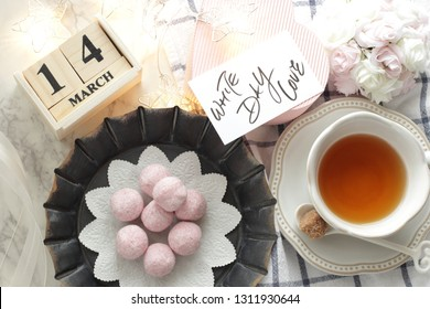 Hand written White day card and almond ball