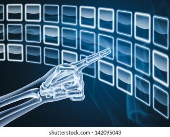 Hand X-ray touching on virtual digital screen