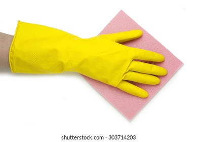 hand in yellow glove with pink cloth on a white background