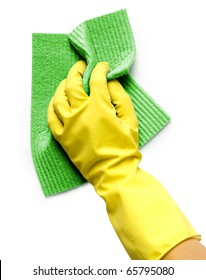 Hand in yellow glove with sponge isolated on white background