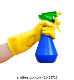 Hand in yellow protective glove holding blue spray bottle on white background