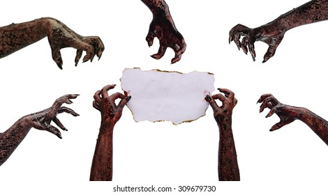 Hand zombie holding of paper fire burning (letter for invitation to a party). Subject halloween, halloween team.