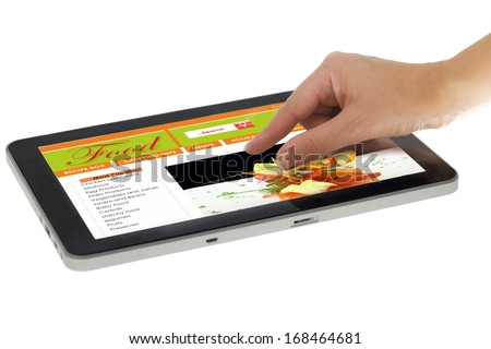 Hand Zooming On Tablet With Recipe Website Template Isolated