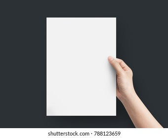 Hand5 women holding blank paper A4 size on top view.