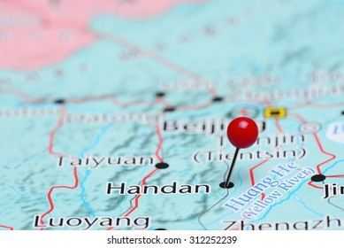 Handan pinned on a map of Asia