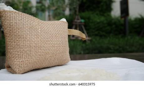 Handbag. Bag made of sack.