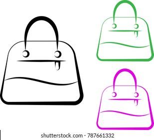 Handbag Icon, Hand Bag Design Raster Art Illustration