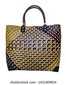 Handbag made with bulrush and palm-leaf at Phatthalung , Thailand.