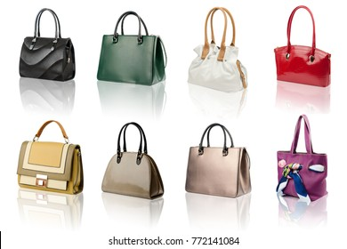 Handbags collection on reflected surface isolated on white background.
