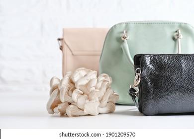 Handtaschen aus Myzelleder, nachhaltige Alternative zu Leder auf Bio-Basis aus Pilzsporen und Pflanzenfasern. Pilztextilien-innovative Materialien. Öko-Bio-Edelleder