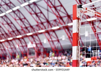 Handball goalpost and spectator crowd in the background