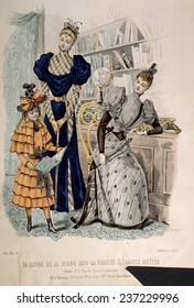 Hand-colored engraving of two women and a girl, from 'La Revue de la Mode,' Paris, October, 1892.