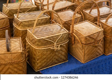 Handcraft bamboo rattan strip wicker hand bag hand made product of OTOP in Thailand.