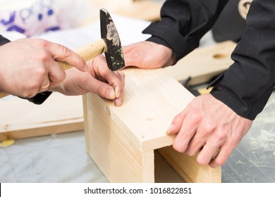 handcraft, creativity, repair supplies concept. close up of the process of making wooden birdhouse, male arms holding old hammer and nail for bonding few boards